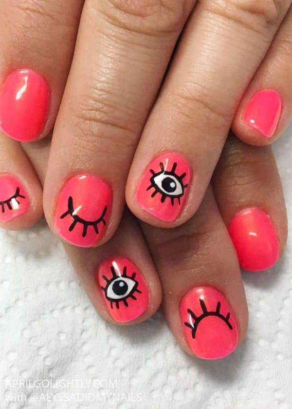 Eye Lash Nails with Neon Pink Nail Art