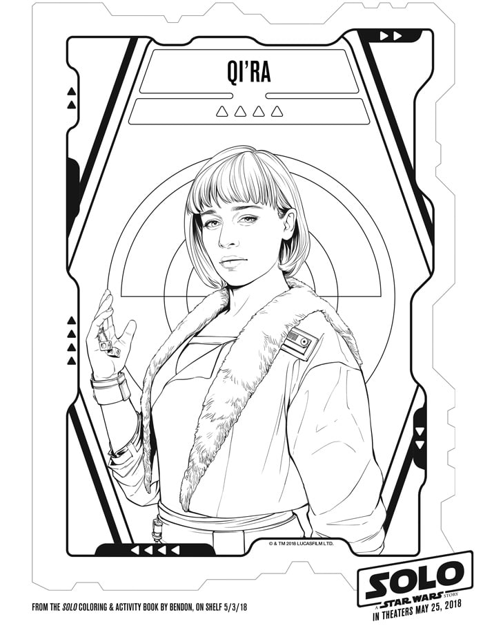 solo a star wars story coloring sheets free printables april  qi ra coloring sheet from the solo movie