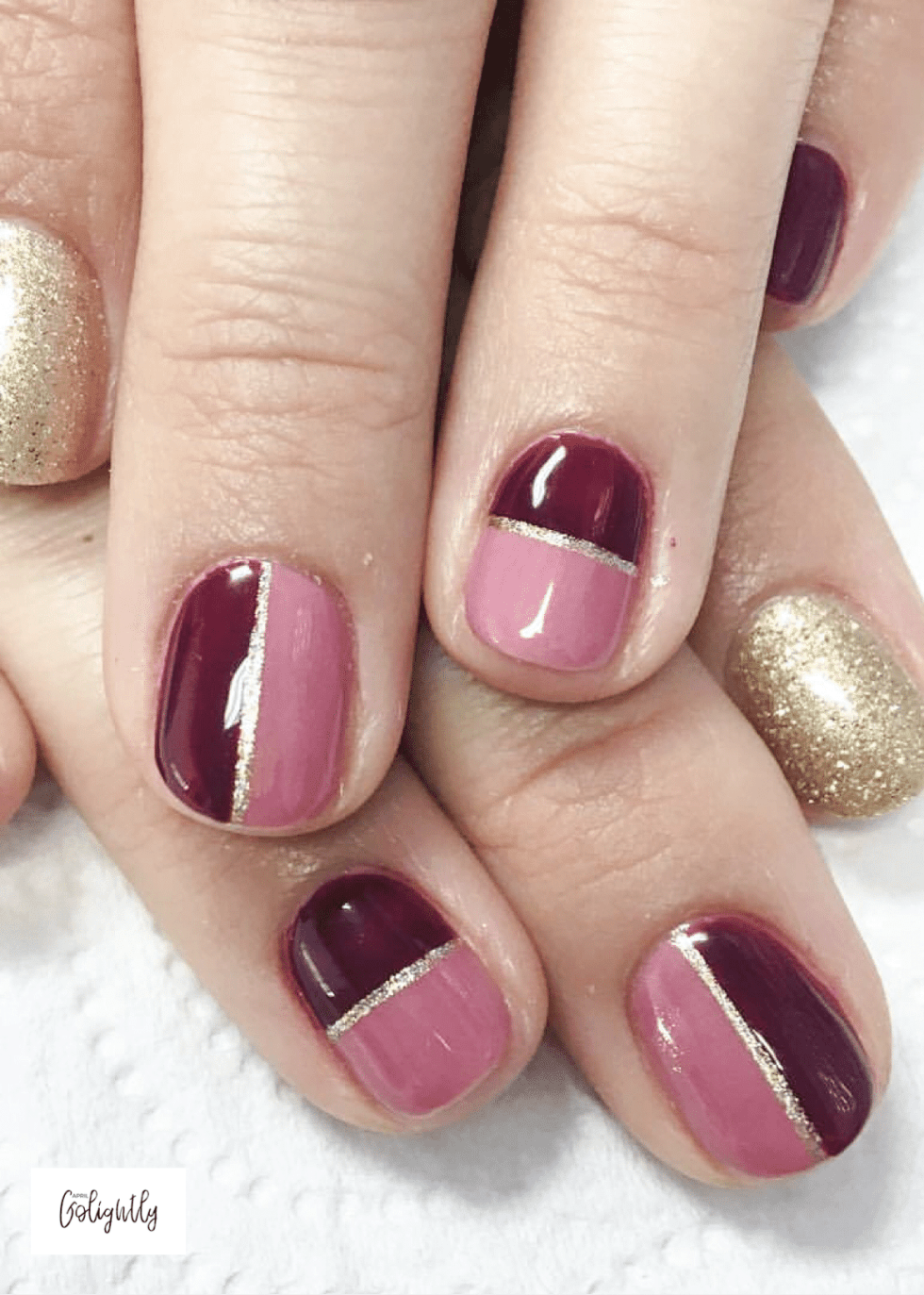 Dark Red Nail Art with Mauve and Gold for fall nails