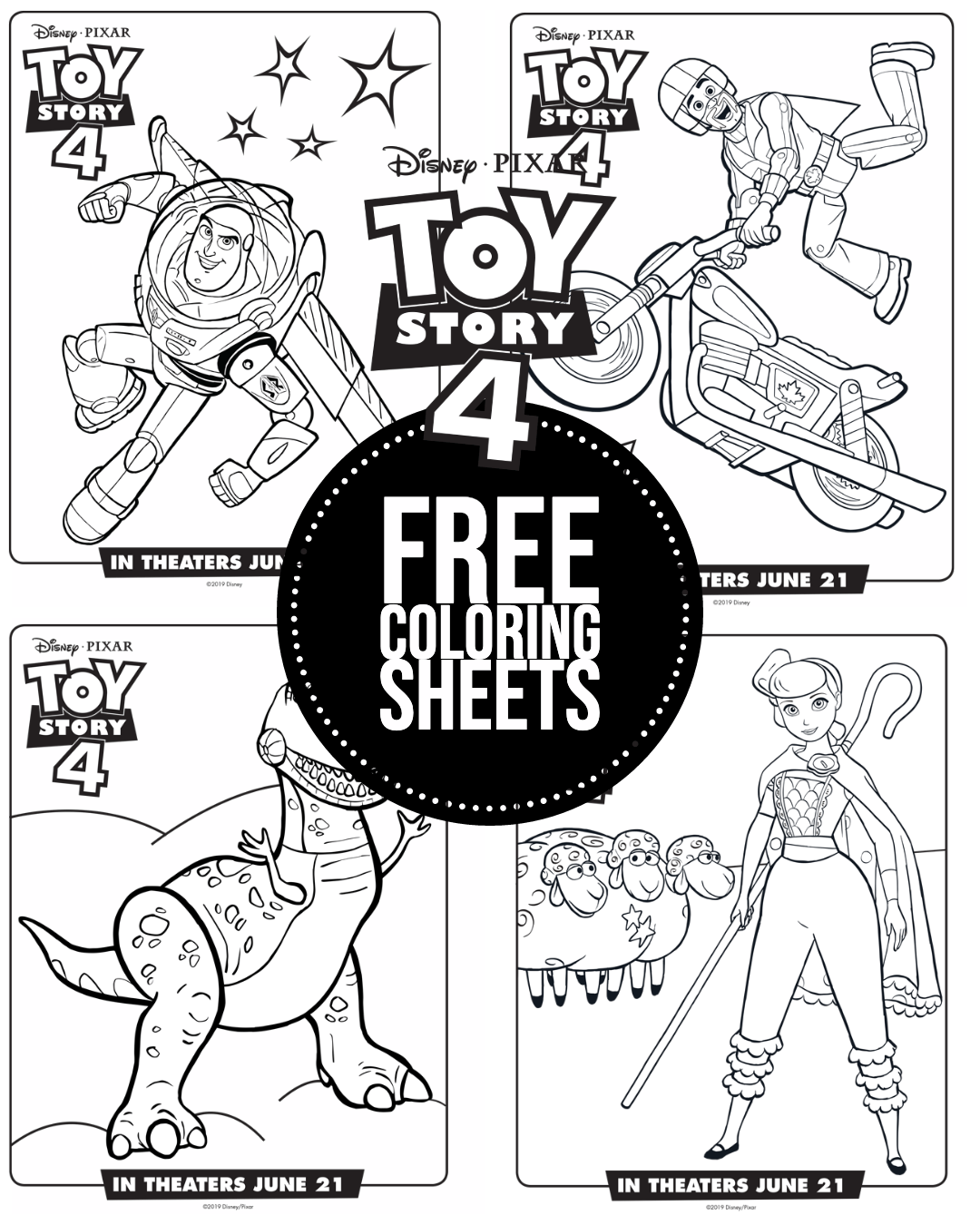 New Toy Story 4 Free Coloring Sheets