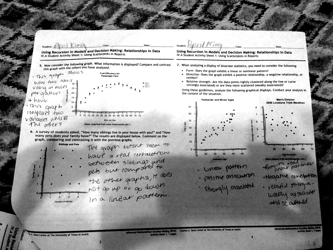 Student Activity Sheet 1 Using Scatter Plots In Reports