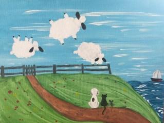 playful style acrylic painting