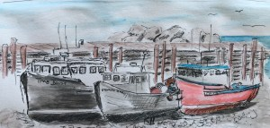 sketch of boats