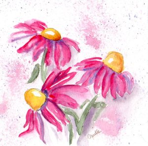 "Bright and Loose, watercolour on panel, 6x6"", Pink Echinacea"
