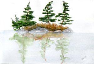 """Misty Lake, watercolour, unframed, 9x6"""""""