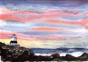 """Margaretsville Sunset, watercolour, 10x7"""", Lighthouse"""
