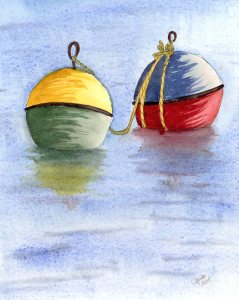 """Playing with the Buoys, watercolour on panel, 8x10"""""""