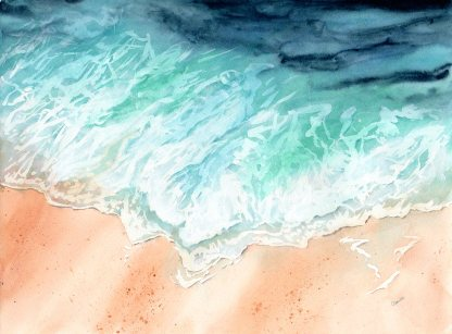 """Waves on Shore, Watercolour, 16x12"""""""