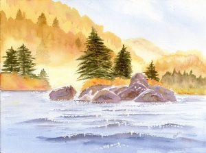 Autumn Lake Watercolour