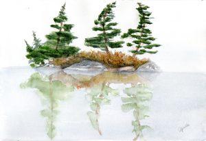 Misty Lake Watercolour
