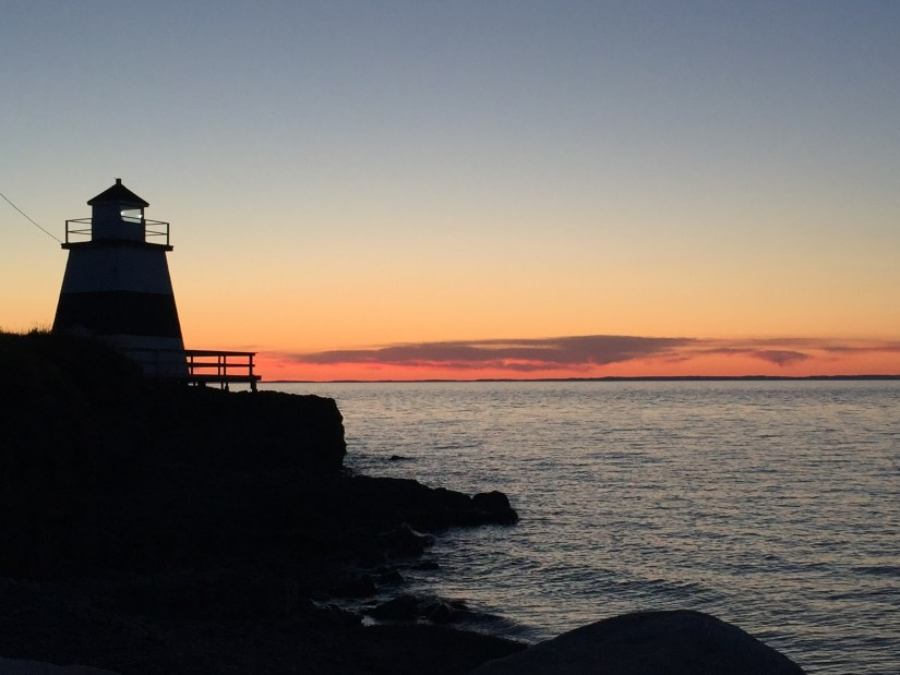 Fundy sunset and lighthouse