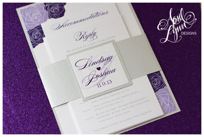 001 Gt Daisy Wedding Invitations In Aubergine With Crystals