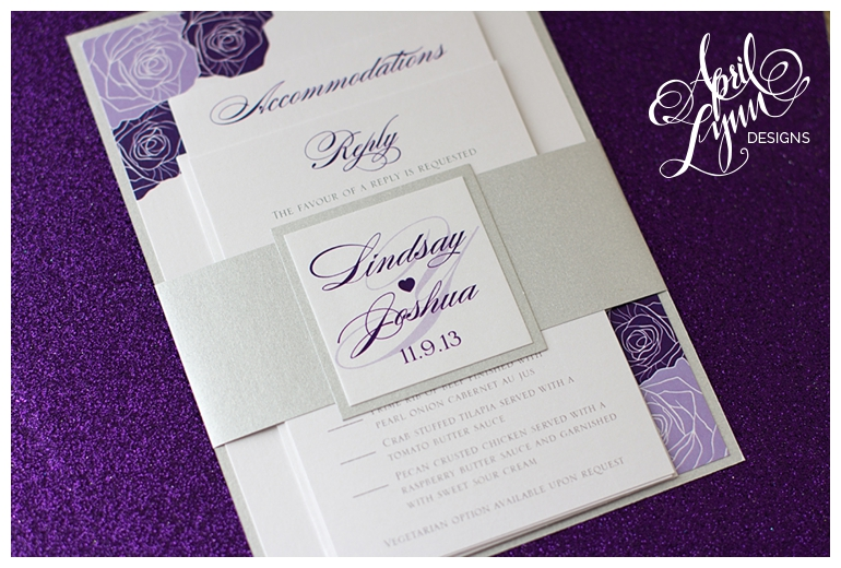 Philadelphia Custom Wedding Invitations Lindsay Josh S Purple Rose By April Lynn Designs