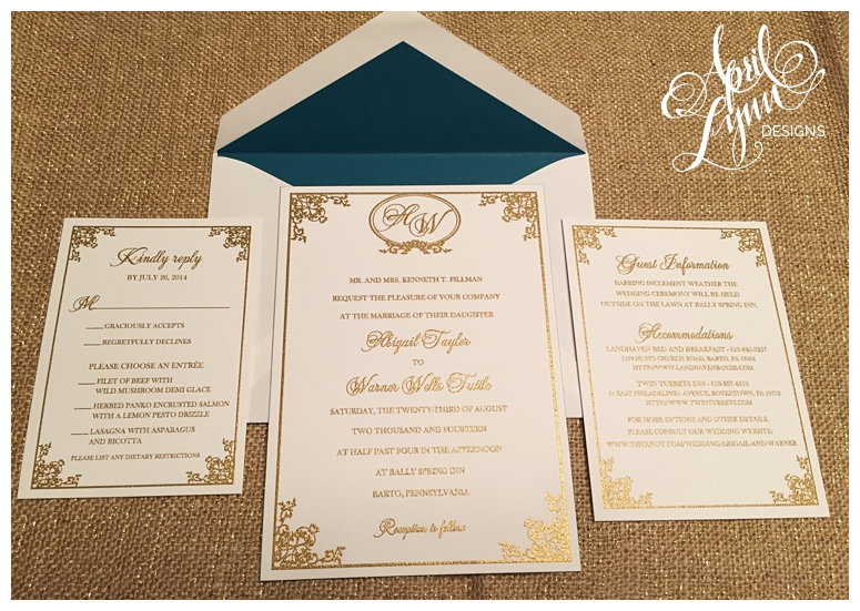 Philadelphia Custom Wedding Invitations Gold Thermography By April Lynn Deisngs