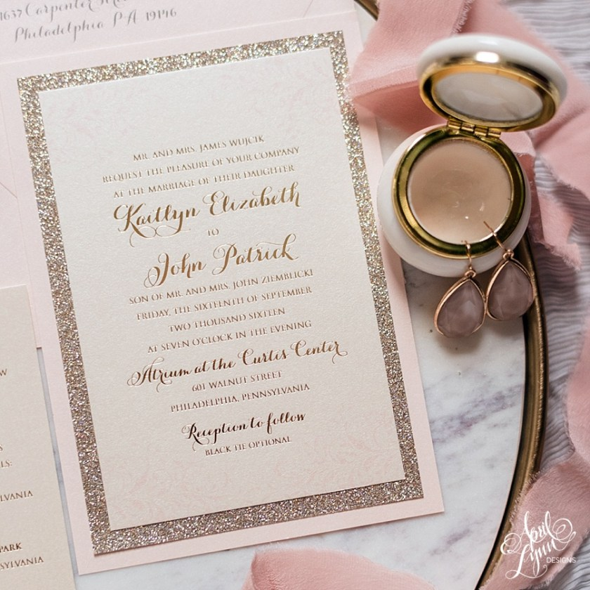 When Kaitlyn And John Started Pulling Their Favorite Stationery Suite Inspiration Together Happened Upon Melissa Alex S Blush Gold Foil