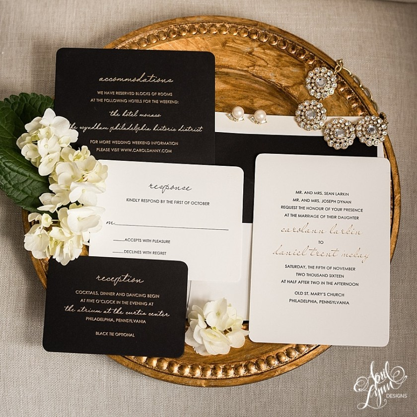 Luxurious Gold Foil And Black Letterpress Wedding Invitation Suite Aprillynndesigns