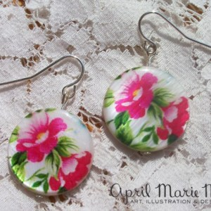 Pink Flower Disc Earrings