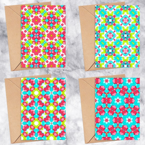 Kaleidoscope Printable Greeting Card Bundle 1