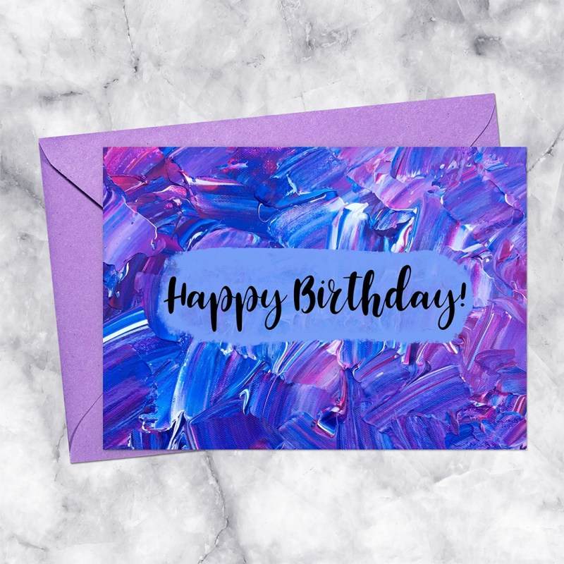 Birthday Purple & Blue Impasto Painting Abstract Printable Card Download