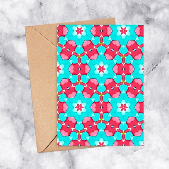 Printable Greeting Card Kaleidoscope 2289