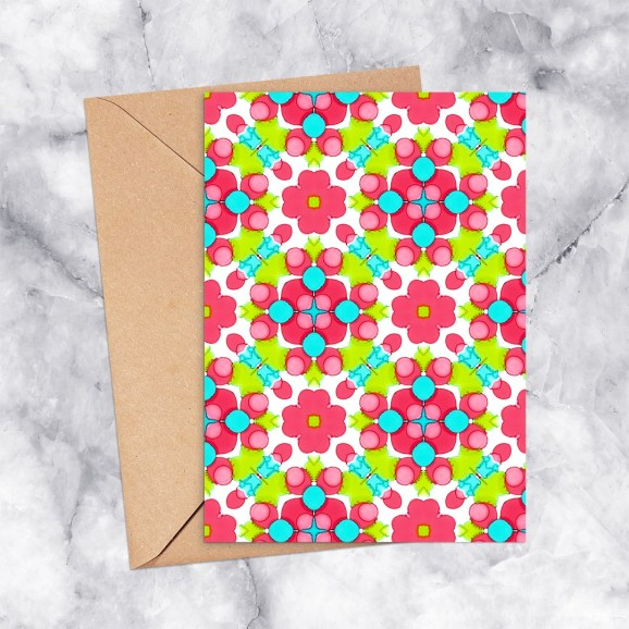 Printable Greeting Card Kaleidoscope 2299