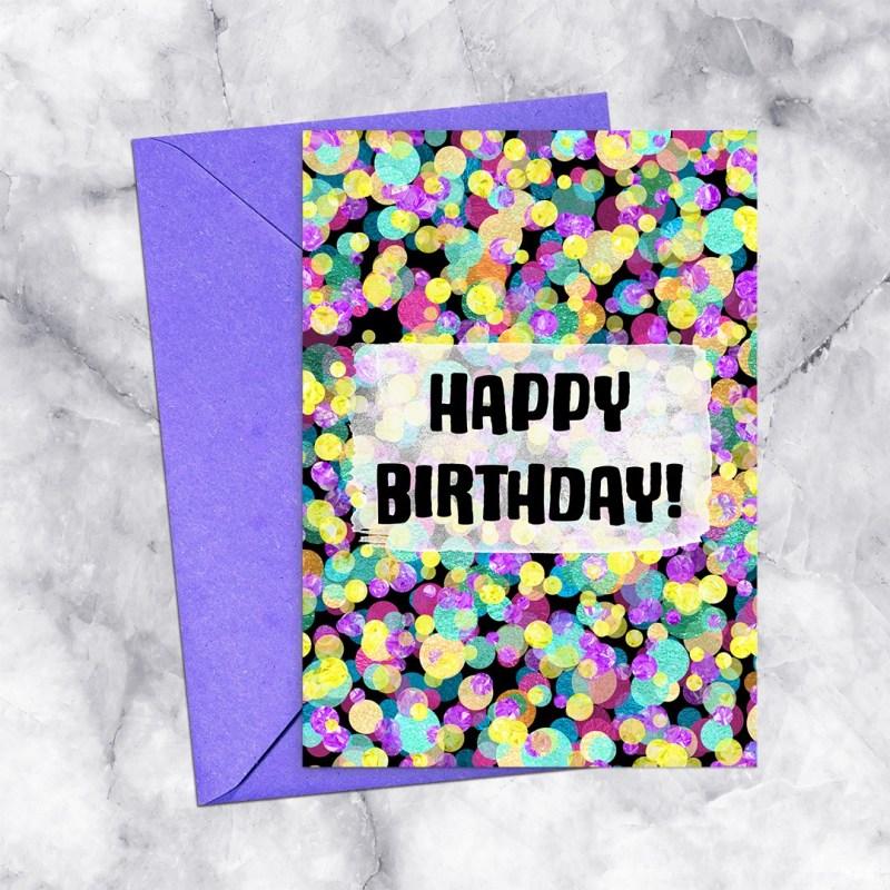 Happy Birthday Printable Greeting Card Rainbow Confetti on Black