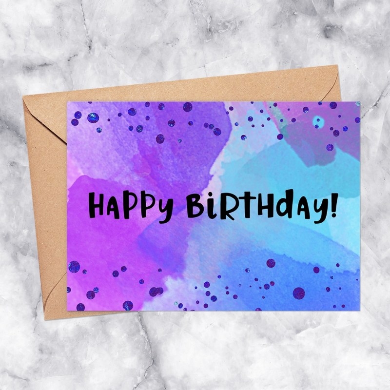 Happy Birthday Printable Greeting Card Watercolor with Confetti in Purple & Blue