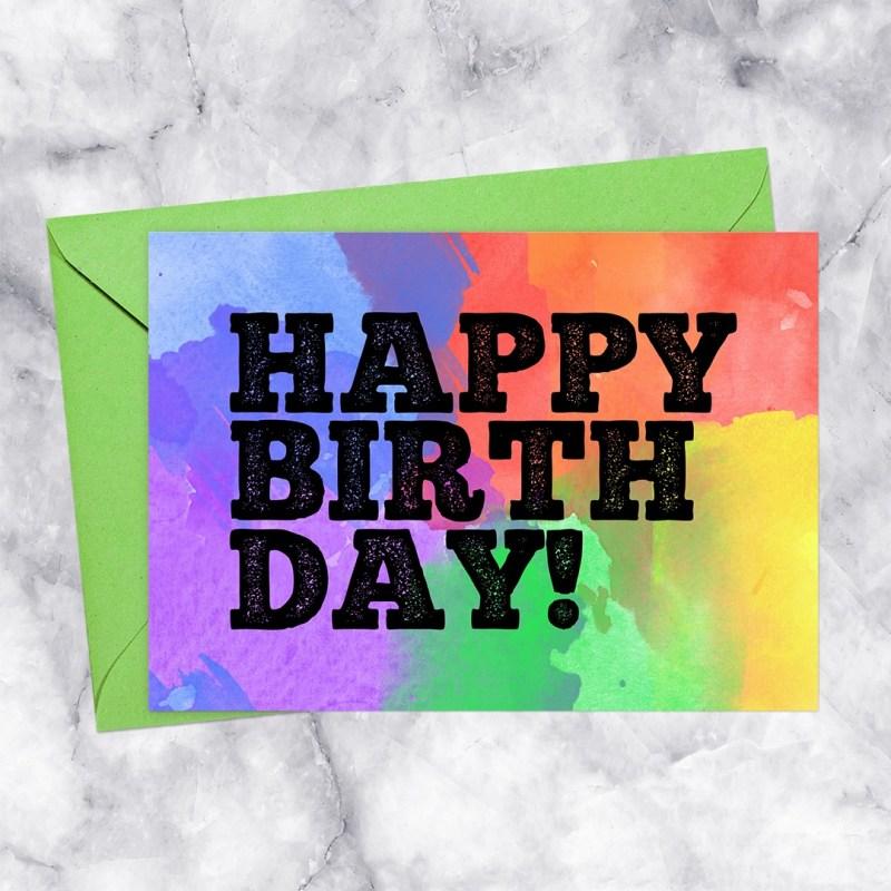 Happy Birthday Printable Card Rainbow Watercolor Letterpress