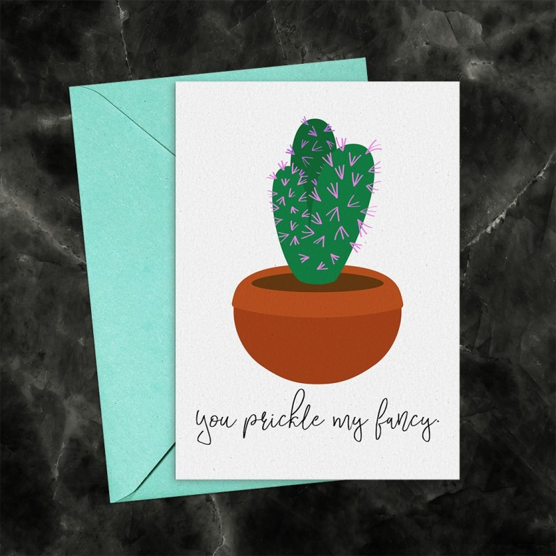 You Prickle My Fancy Cactus Printable Greeting Card