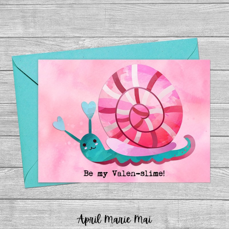 Be My Valen-slime! Snail Valentine's Day Printable Greeting Card