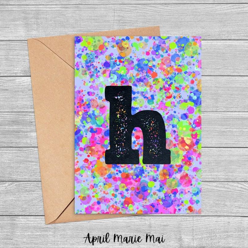 Letter H Monogram Rainbow Paint Splatter Printable Card