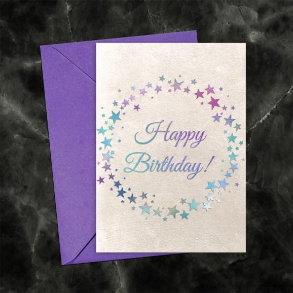 Happy Birthday Iridescent Circle of Stars on Pearl Printable Card