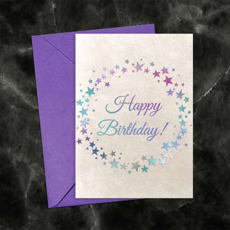 Happy Birthday Iridescent Circle of Stars on Pearl Printable Card