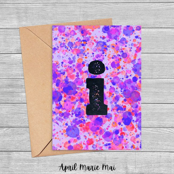 Letter I Monogram Paint Splatter Printable Greeting Card in Purple & Coral Red