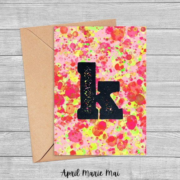 K Monogram Letter Paint Splatter Printable Greeting Card in Red, Yellow & Green