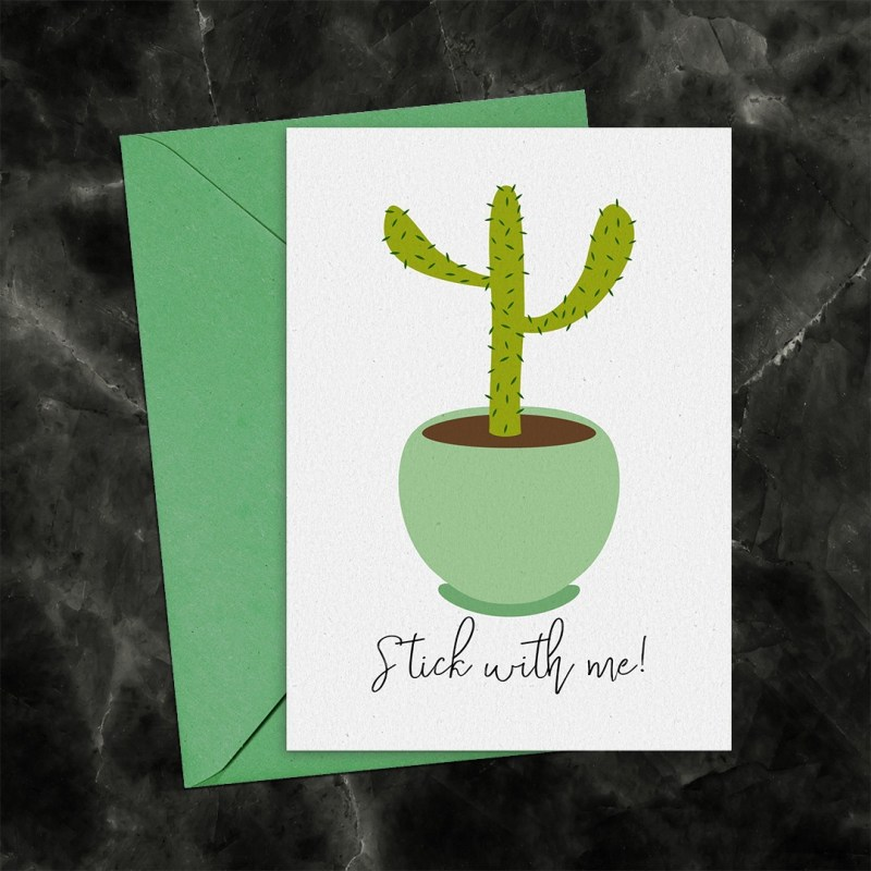 Stick With Me Cactus Printable Greeting Card
