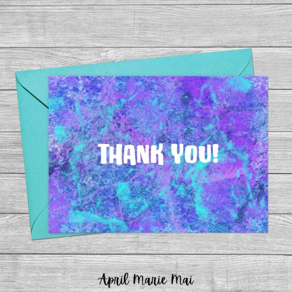 Thank You Purple and Teal Concrete Texture Printable Greeting Card