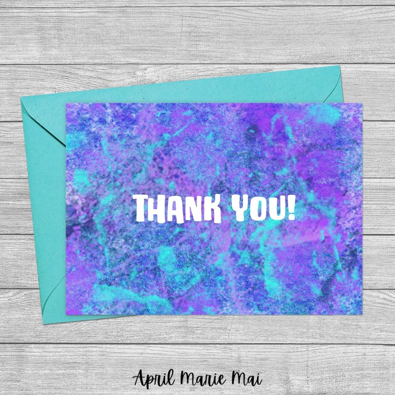 Thank You Purple and Teal Concrete Texture Printable Card