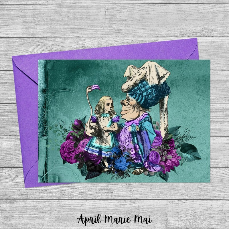Alice & the Duchess Teal & Purple Alice in Wonderland Printable Greeting Card