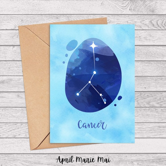 Cancer Zodiac Sign Watercolor Printable Greeting Card