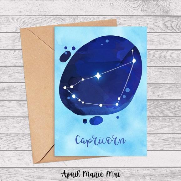 Capricorn Zodiac Sign Watercolor Printable Greeting Card