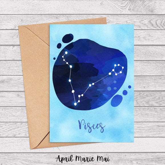 Pisces Zodiac Sign Watercolor Printable Greeting Card