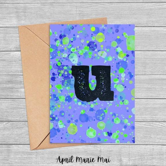 U Monogram Letter Paint Splatter Printable Greeting Card in Blue & Green