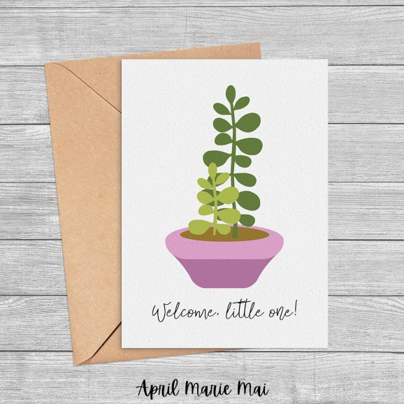 Welcome, Little One! New Baby or Adoption Jade Plant Printable Greeting Card