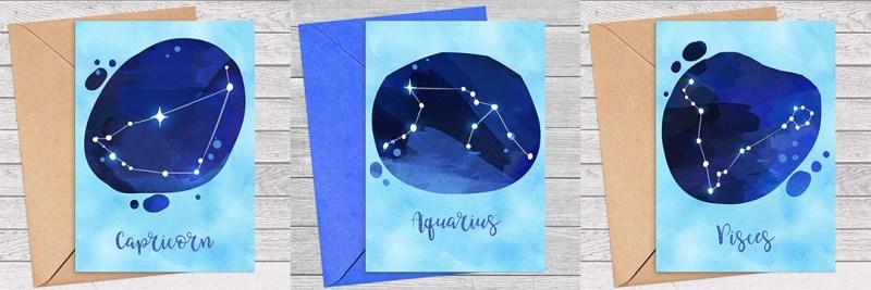 Zodiac Sign Watercolor Printable Greeting Card Bundle