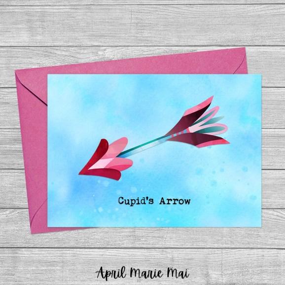Cupid's Arrow Watercolor Printable Greeting Card