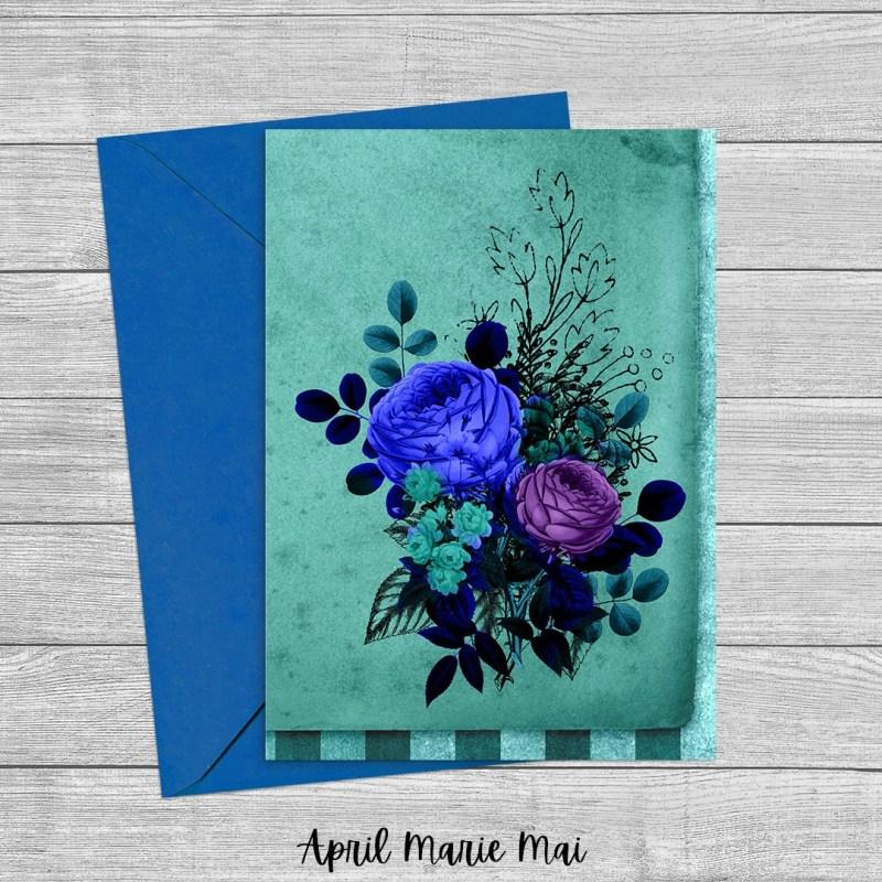 Flowers Teal & Purple Alice in Wonderland Printable Greeting Card