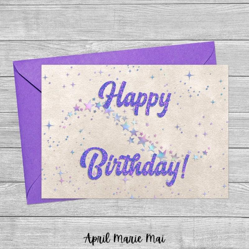 Happy Birthday Iridescent Starry Sky & Purple Glitter on Pearl Printable Greeting Card