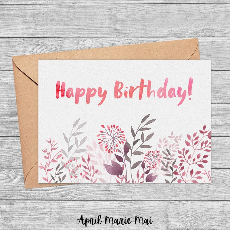 Happy Birthday Red Watercolor Flowers Printable Greeting Card