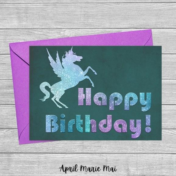 Happy Birthday! Glitter Winged Unicorn Silhouette Printable Greeting Card